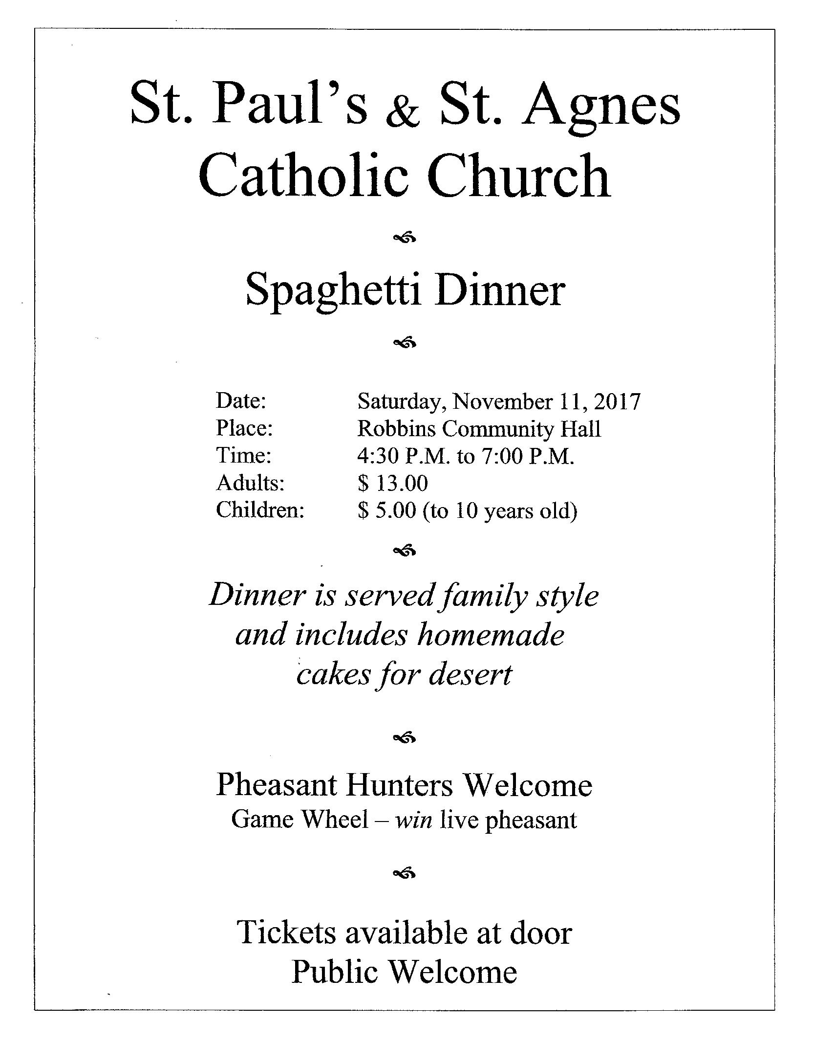 St. Paul's & St. Agnes Spaghetti Dinner November 11, 2017